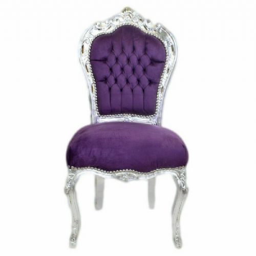 CHAIRS FRANCE BAROQUE STYLE DINING ROYAL CHAIR SILVER / PURPLE # 60ST5